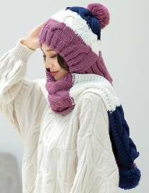Fashion Purple Color Matching Decorated Hat