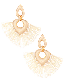 Fashion Beige Heart Shape Decorated Tassel Earrings
