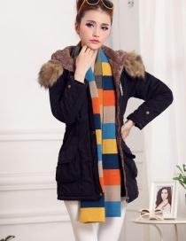 Fashion Black Fur Collar Decorated Pure Color Coat