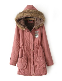 Fashion Dark Pink Fur Collar Decorated Pure Color Coat
