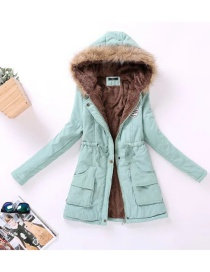 Fashion Green Fur Collar Decorated Pure Color Coat