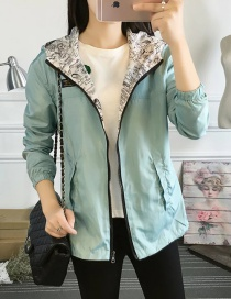Fashion Green Zipper Decorated Pure Color Jacket