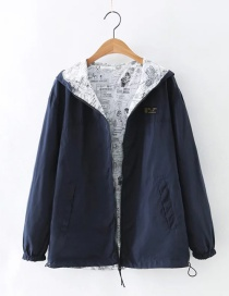Fashion Navy Zipper Decorated Pure Color Jacket