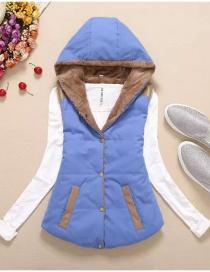 Fashion Blue Pure Color Decorated Coat