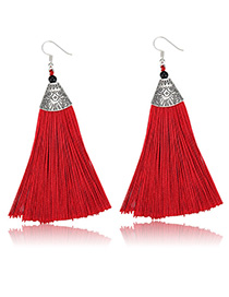 Elegant Red Flower Pattern Design Long Tassel Earrings