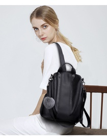 Fashion Black Pure Color Decorated Simple Backpack