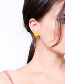 Fashion Yellow Flower Decorated Circular Ring Earrings