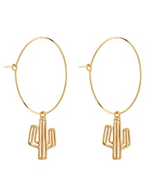 Fashion Antique Gold Cactus Shape Design Pure Color Earrings