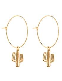 Fashion Antique Gold Cactus Shape Design Pure Color Earrings