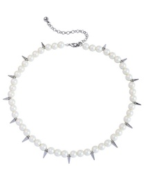 Fashion White Rivets&pearls Decorated Simple Necklace