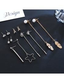 Fashion Gold Color+silver Color Feather&star Pendant Decorated Earrings(12pcs)
