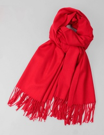 Fashion Red Tassel Decorated Pure Color Scarf