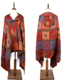 Fashion Orange Geometric Shape Pattern Design Thicken Scarf