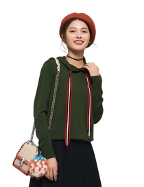 Fashion Green Pure Color Decorated Blouse
