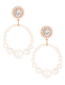 Elegant White Full Pearls Decorated Pure Color Earrings