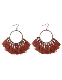 Vinatge Brown Tassel Decorated Circular Ring Earrings