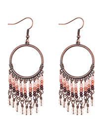 Vinatge Brown Beads Decorated Long Tassel Earrings