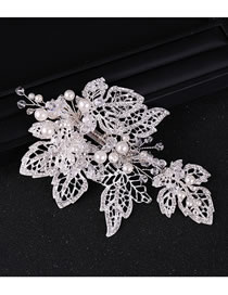 Fashion White Leaf Shape Design Hollow Out Hair Accessory