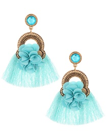 Elegant Page Green Flower Decorated Tassel Earrings