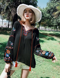 Fashion Black Tassel Decorated Tying-strap Embroidered Blouse