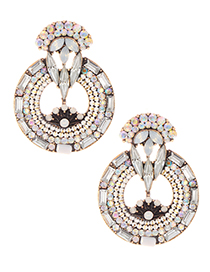 Elegant Multi-color Full Diamond Design Hollow Out Earrings
