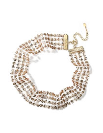 Fashion Gold Color Full Sequins Decorated Multi-layer Choker