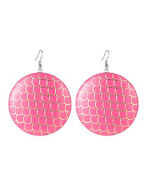 Elegant Pink Fish Scale Shape Design Round Shape Earrings