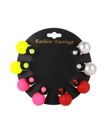 Elegant Multi-color Pearls Decorated Color Matching Earrings(8pcs)