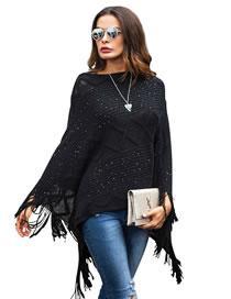Fashion Black Tassel Decorated Pure Color Sweater