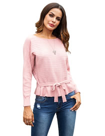 Fashion Pink Tying Strap Design Pure Color Sweater