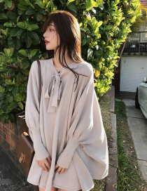 Fashion Apricot Puff Sleeves Design V Neckline Loose Dress