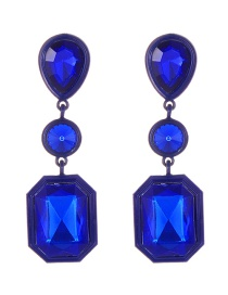 Elegant Sapphire Blue Geometric Shape Diamond Decorated Earrings