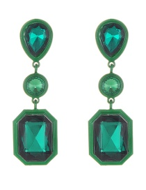 Elegant Green Geometric Shape Diamond Decorated Earrings