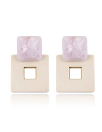 Fashion Pink+beige Double Square Shape Design Earrings
