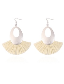 Fashion White Hollow Out Design Oval Shape Earrings