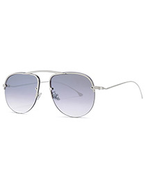 Trendy Silver Color+gray Circular Frame Design Thin Legs Sunglasses