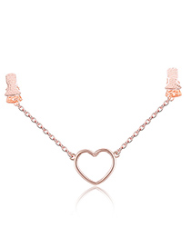 Fashion Rose Gold Heart Shape Design Pure Color Shawl Buckle