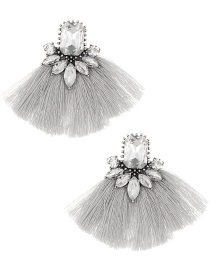 Elegant Gray+white Diamond Decorated Tassel Earrings