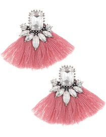 Elegant Plum Red+white Diamond Decorated Tassel Earrings