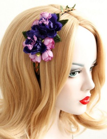 Fashion Pink+purple Flower Shape Decorated Hairband