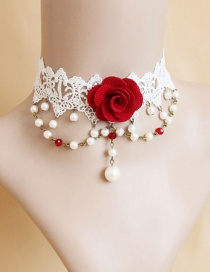 Fashion White+red Flower Shape Decorated Choker