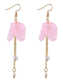 Elegant Pink Tassel Decorated Earrings