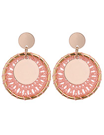 Vintage Pink Round Shape Decorated Earrings