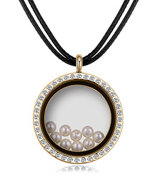 Elegant Champagne Pearls&diamond Decorated Necklace