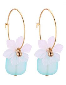 Fashion White+blue Flower Shape Decorated Earrings