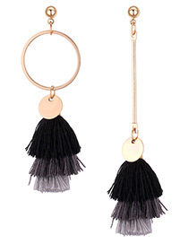 Fashion Black+gray+white Color-matching Decorated Earrings