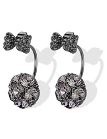 Fashion Gray Bowknot Shape Decorated Earrings