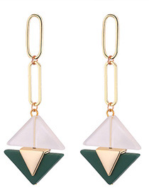 Fashion Navy Triangle Shape Decorated Earrings