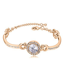 Trendy Champagne Round Shape Diamond Decorated Bracelet