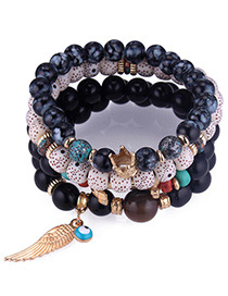 Trendy Black Wing&beads Decorated Multi-layer Bracelet